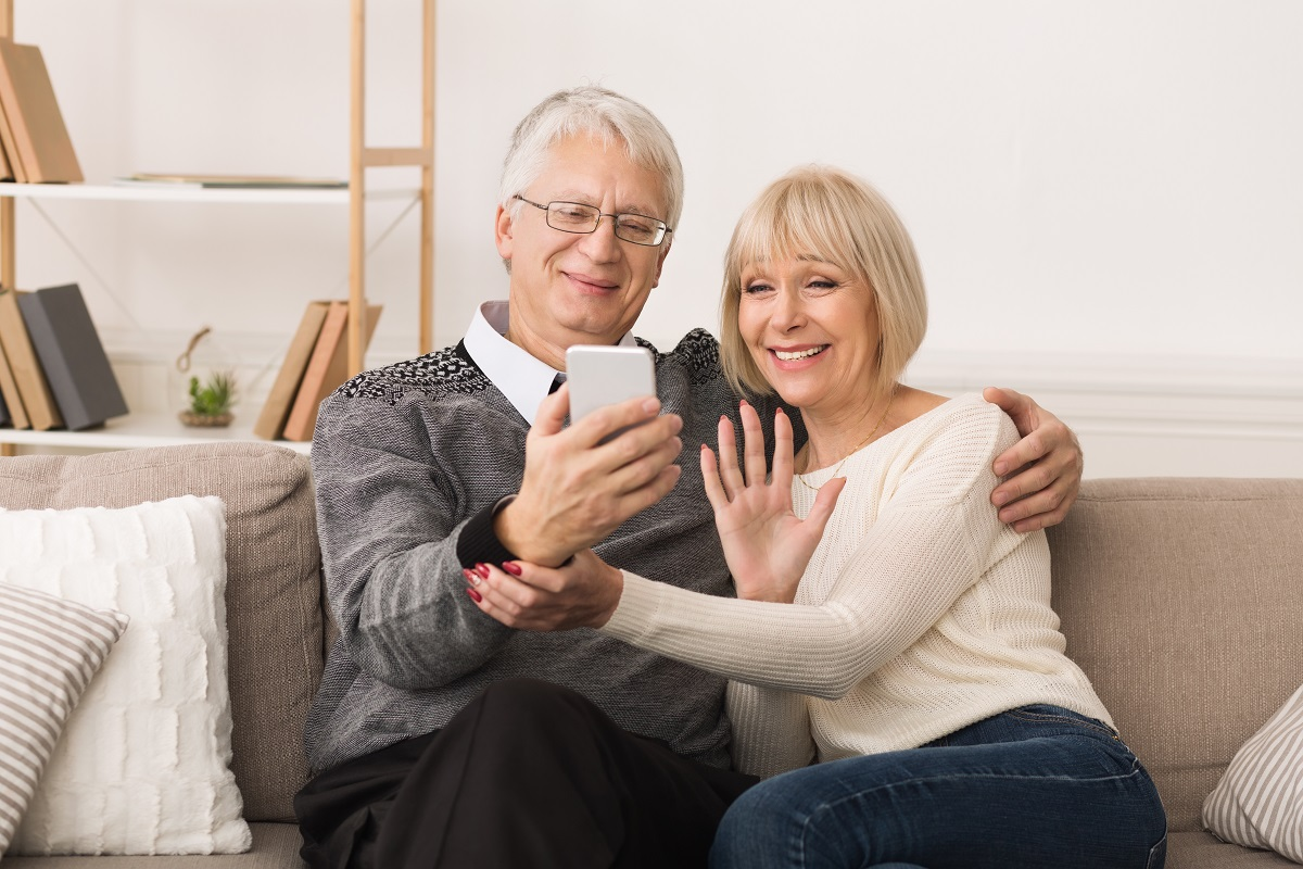 senior couple on video call