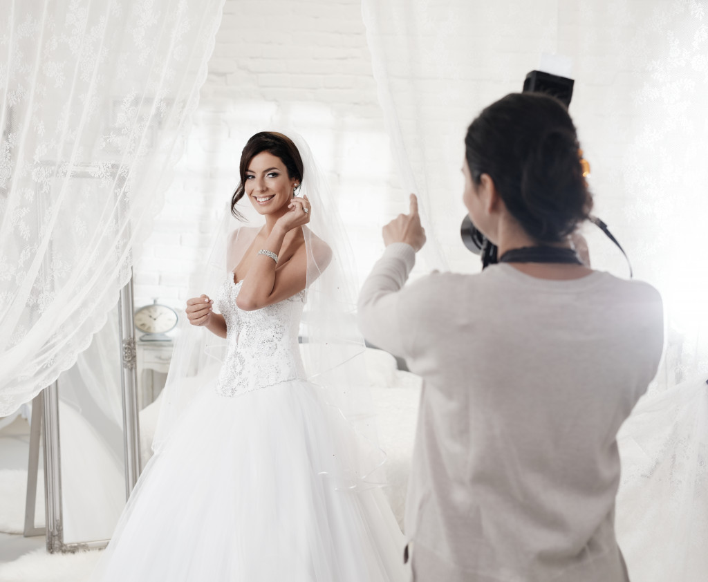bride posing infront of the camera